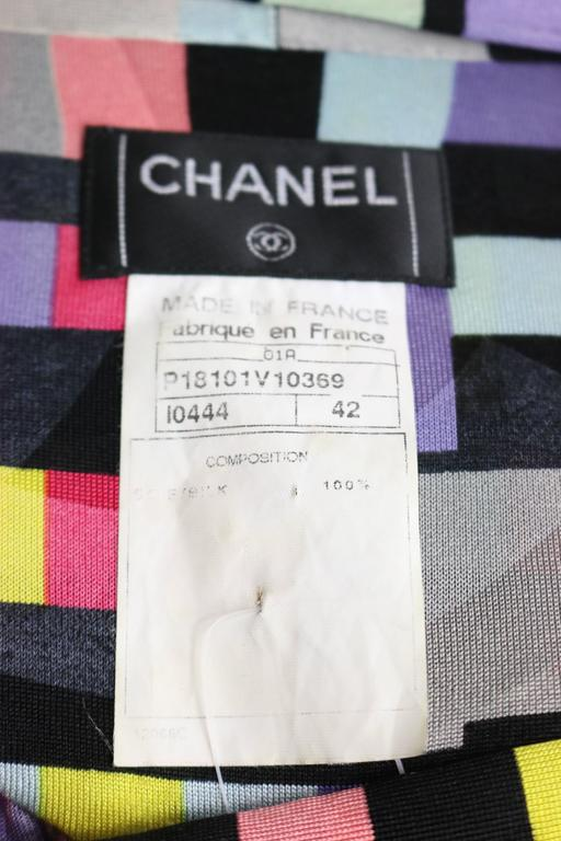 Chanel Silk Colour Blocked Cropped Zipper Blouse  For Sale 1