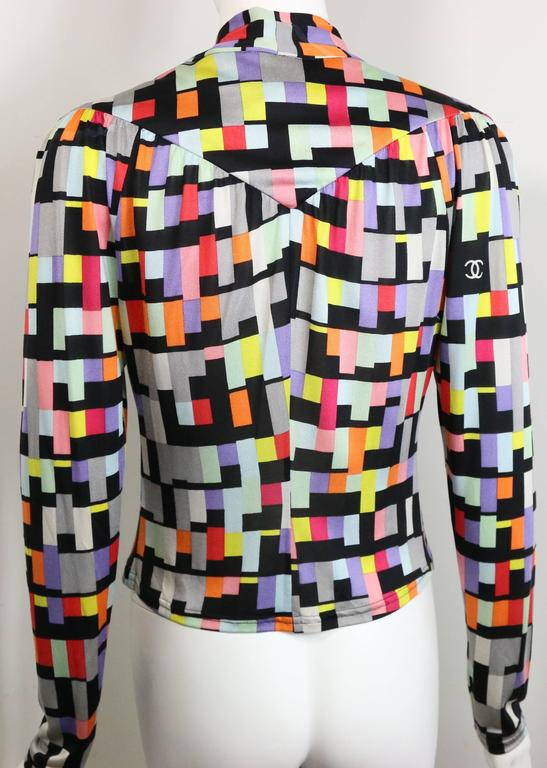 Women's Chanel Silk Colour Blocked Cropped Zipper Blouse  For Sale