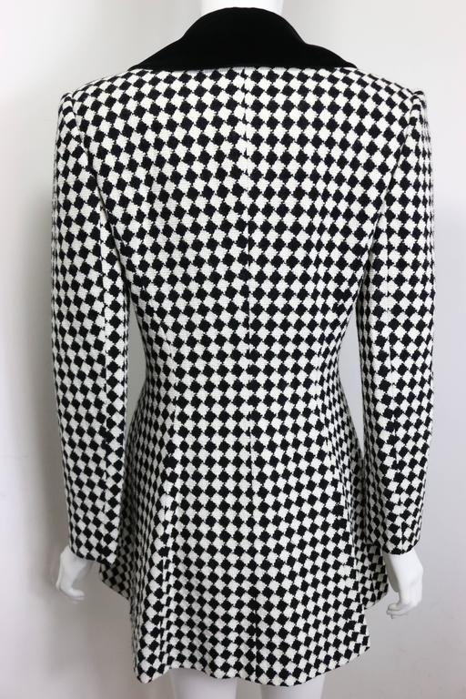 Angelo Tarlazzi Double Breasted Black and White Harlequin Check Coat With Bow  For Sale 1