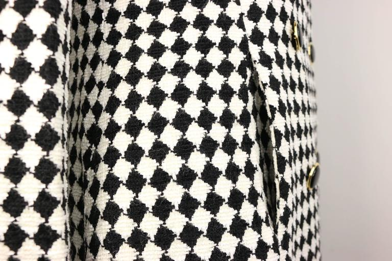 Women's Angelo Tarlazzi Double Breasted Black and White Harlequin Check Coat With Bow  For Sale