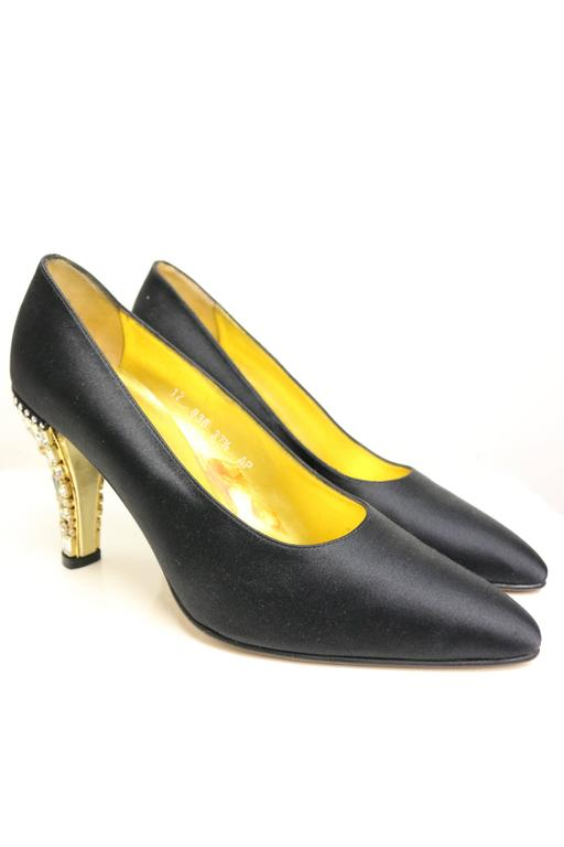 84713c2a1719 Women s Escada Black Satin Pointy Pumps with Crystal Rhinestones Gold Toned  Heels For Sale