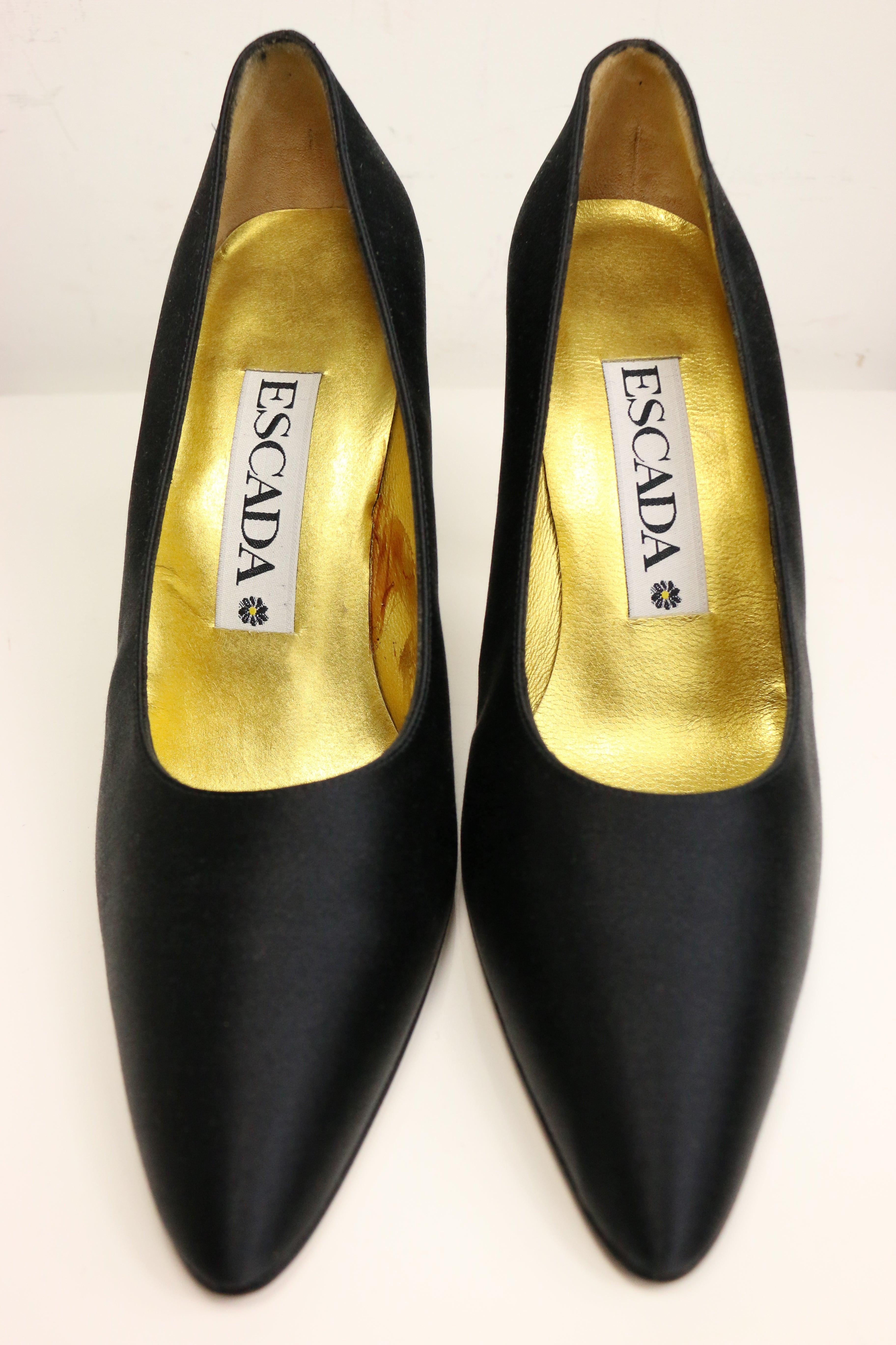 eb8c9b53cc7f Escada Black Satin Pointy Pumps with Crystal Rhinestones Gold Toned Heels  For Sale at 1stdibs