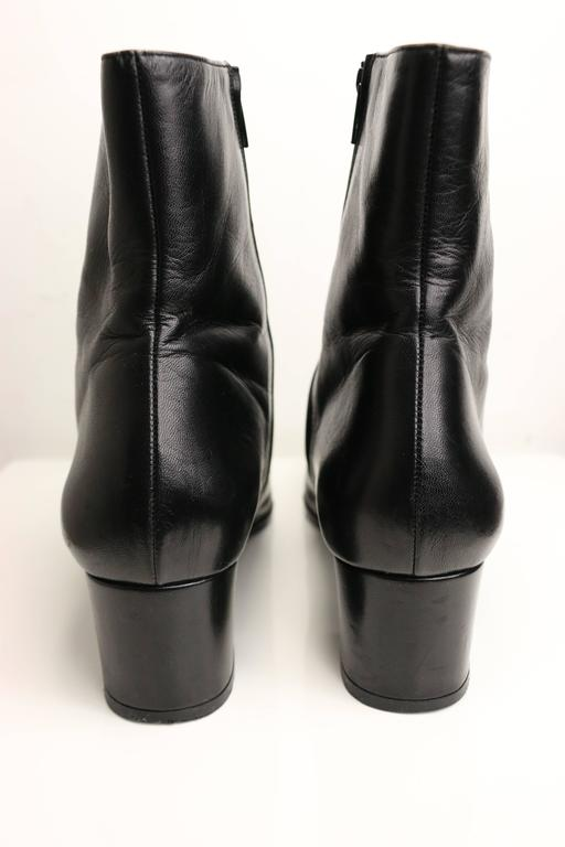 "Chanel Black Leather Square Toe ""CC"" Logo Ankle Boots 3"