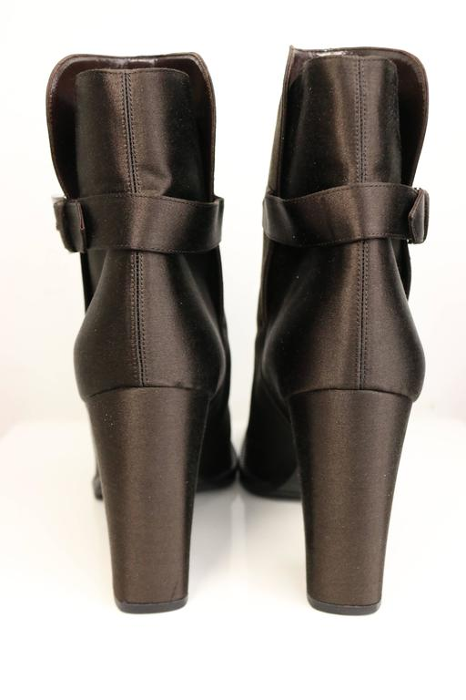 chanel brown satin ankle boots for sale at 1stdibs