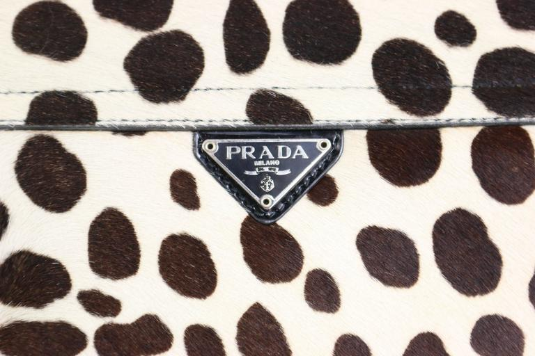 Beige Prada Leopard Print Pony Hair Flap Handbag.   For Sale