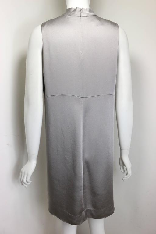 Donna Karan Classic Silver Satin High Neck Sleeveless Shift Dress  In New Condition For Sale In Sheung Wan, HK
