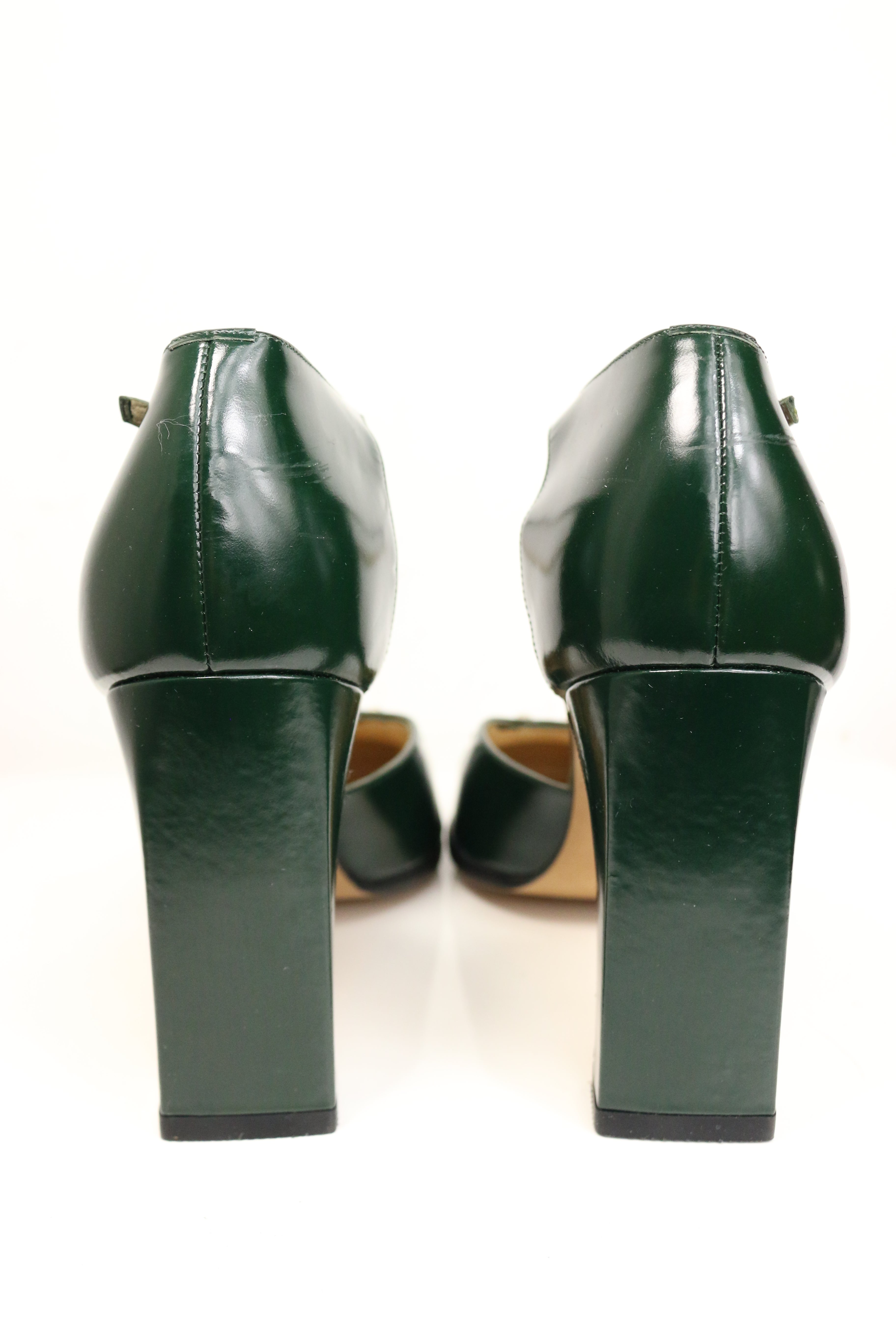b3097cec8 Gucci by Tom Ford Classic Green Leather Square Toe Strap Pumps For Sale at  1stdibs