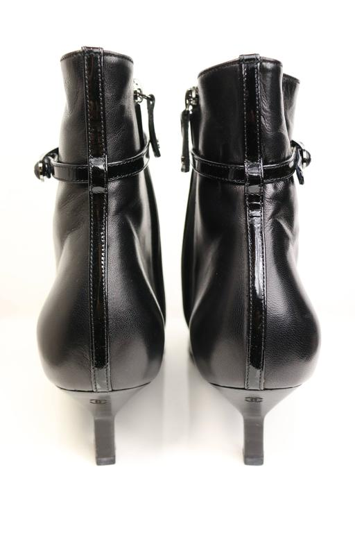 Chanel Black Leather Pointy Ankle Boots  5