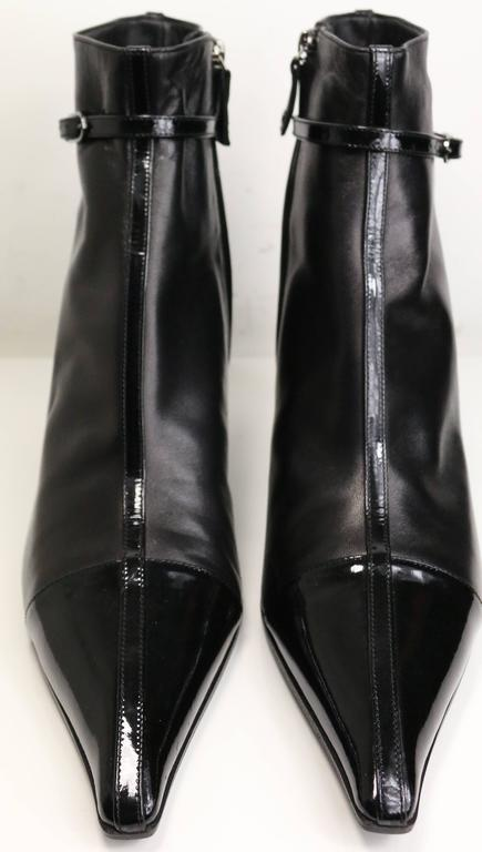 Chanel Black Leather Pointy Ankle Boots  2