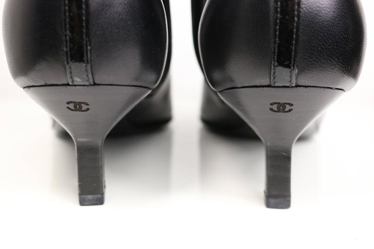 Chanel Black Leather Pointy Ankle Boots  6