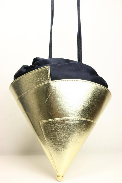 Escada Gold Metallic Leather Party Hat Handbag/Clutch  In Excellent Condition For Sale In Sheung Wan, HK