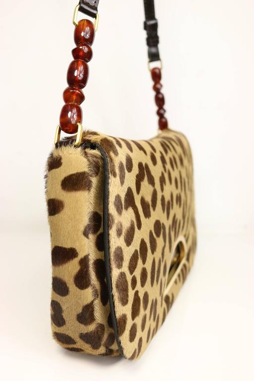 e252436eb4ab Christian Dior Leopard Print Pony Hair Baguette Bag In New Condition For  Sale In Sheung Wan