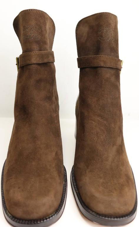 Chanel Brown Suede /Patent Ankle Boot  2