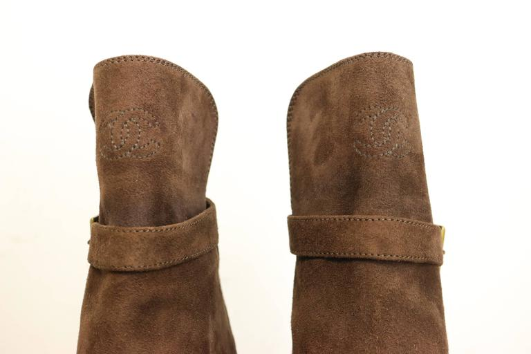 Chanel Brown Suede /Patent Ankle Boot  3