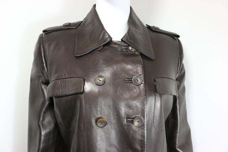 Black Gucci by Tom Ford Brown Leather Double Breasted Jacket For Sale