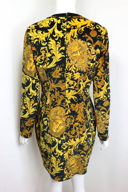 Brown Gianni Versace Jeans Couture Gold Medusa Velour Dress  For Sale