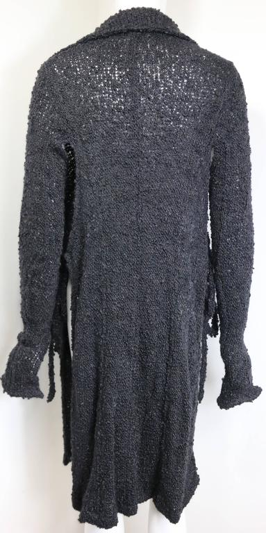 Black Costume National Grey Cashmere Long Knitted Cardigan with Both Sides Split Cut For Sale