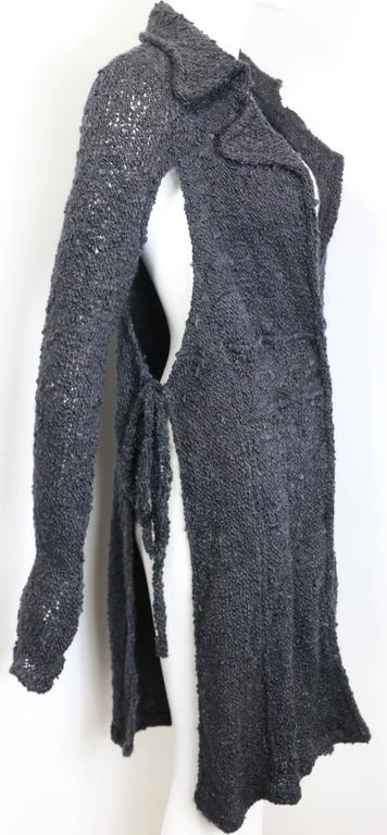 Costume National Grey Cashmere Long Knitted Cardigan with Both Sides Split Cut In Excellent Condition For Sale In Sheung Wan, HK