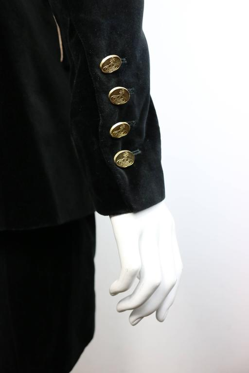 Women's 90s Vivienne Westwood Black Velvet Double Breasted Jacket and Skirt Ensembles  For Sale