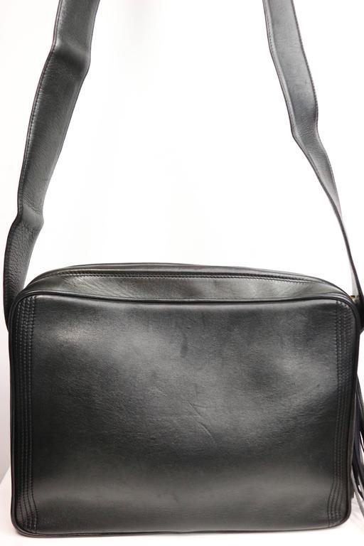 Women's Vintage Chanel Black Leather Flap Bag with Tassel For Sale