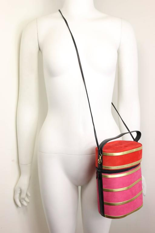 Women's Charles Jourdan Red and Pink Suede Gold Leather Stripes Round Handbag with Strap For Sale