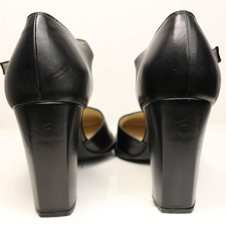 Women's Chanel Classic Black Leather Square Toe Heels For Sale