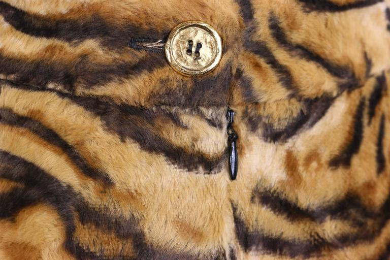 Brown Gemma Kahng Leopard Faux Fur Skirt  For Sale