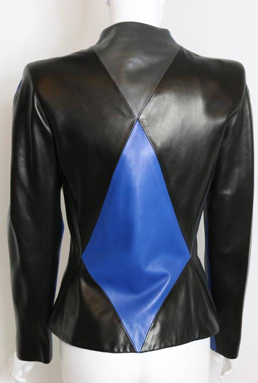Blue Givenchy By Alexander McQueen Colour Blocked Geometric Leather Jacket For Sale