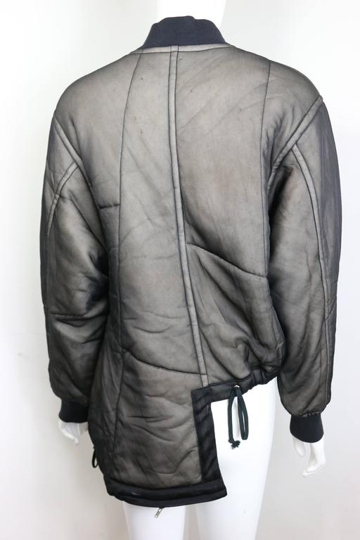 Comme des Garcons Charcoal Grey Asymmetric Deconstruct Bomber Jacket  3