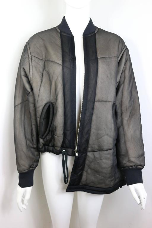 Comme des Garcons Charcoal Grey Asymmetric Deconstruct Bomber Jacket  6