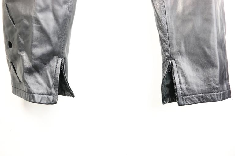 Istante by Gianni Versace Black Leather with Cutout Pattern Pants For Sale 1