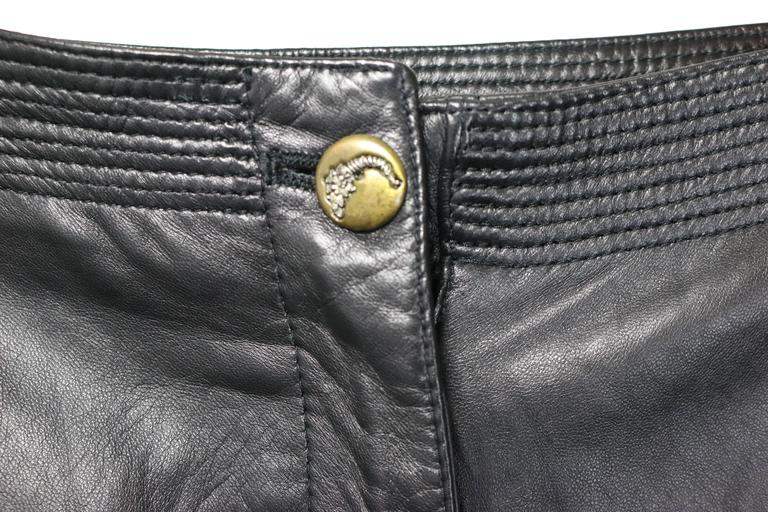 Istante by Gianni Versace Black Leather with Cutout Pattern Pants For Sale 2