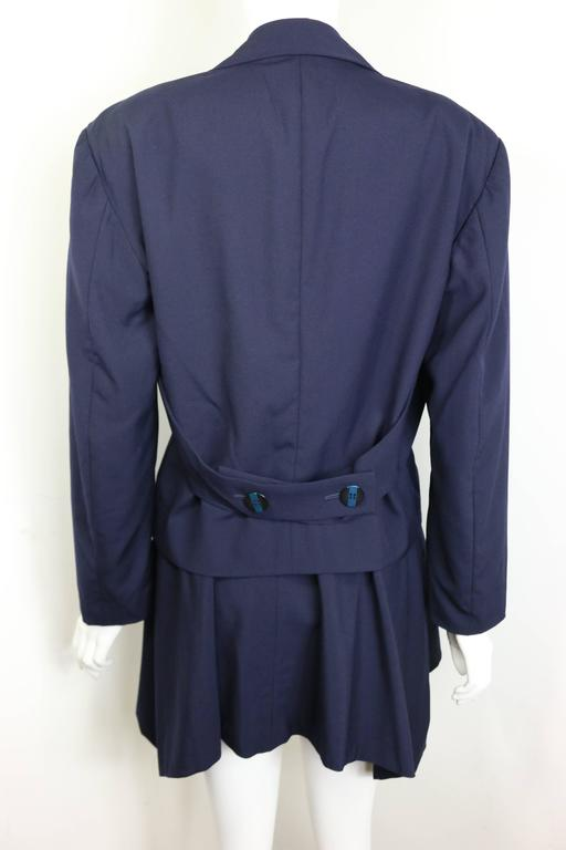 Black Issey Miyake Navy Blue Double Breasted Jacket and Skirt Ensemble  For Sale