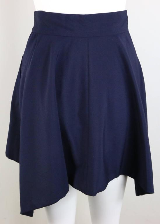 Issey Miyake Navy Blue Double Breasted Jacket and Skirt Ensemble  For Sale 1