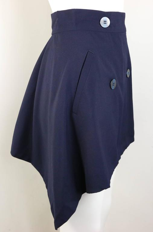 Issey Miyake Navy Blue Double Breasted Jacket and Skirt Ensemble  For Sale 2