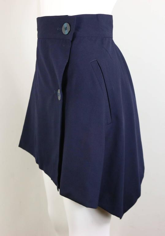 Issey Miyake Navy Blue Double Breasted Jacket and Skirt Ensemble  For Sale 3