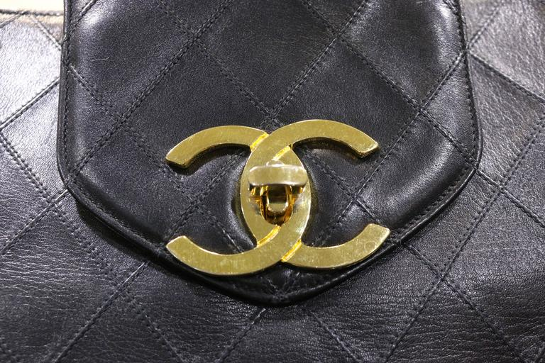 Chanel Black Classic Quilted Lambskin Overnight Bag  2