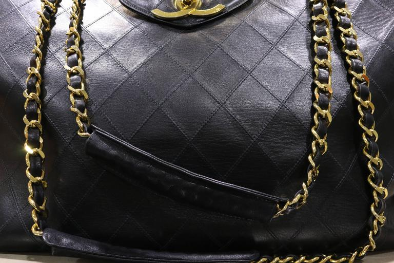 Chanel Black Classic Quilted Lambskin Overnight Bag  In Excellent Condition For Sale In Sheung Wan, HK