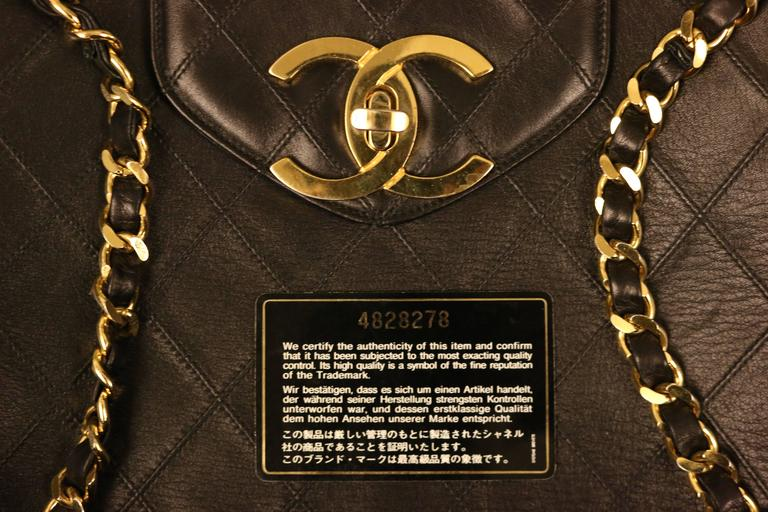Chanel Black Classic Quilted Lambskin Overnight Bag  7