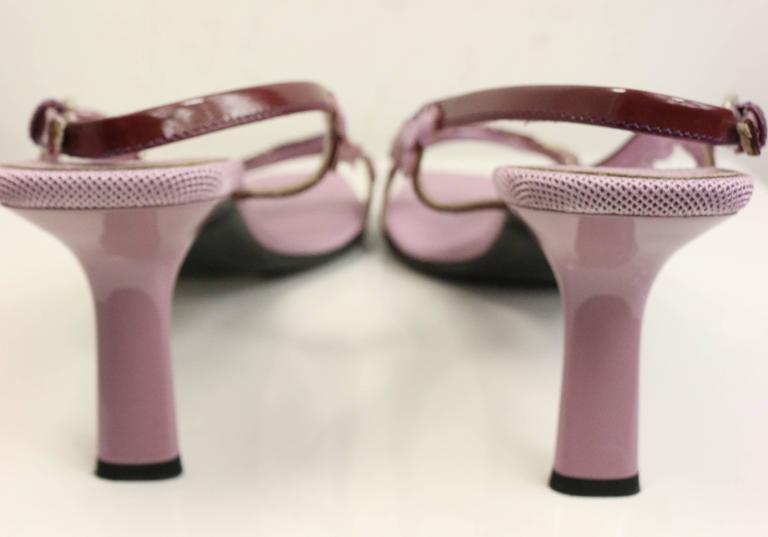 Beige Prada Purple Metallic Leather Sequins Sandals For Sale