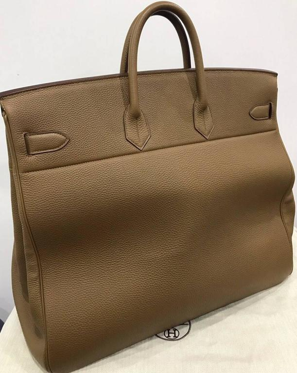 91dca369c286 official store hermes 50cm taupe haut a courroies togo leather with white  interior bag from year
