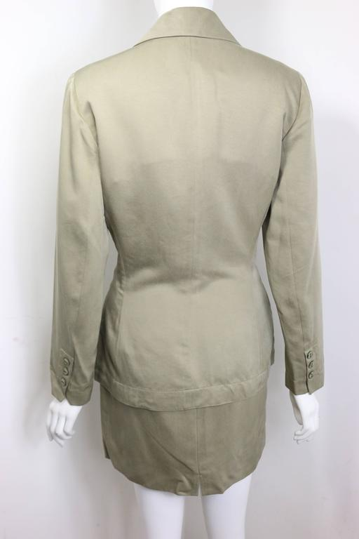 Brown Alaia Khaki Double Breasted Jacket and Skirt Ensemble For Sale