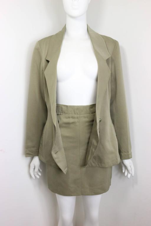 Alaia Khaki Double Breasted Jacket and Skirt Ensemble In Excellent Condition For Sale In Sheung Wan, HK