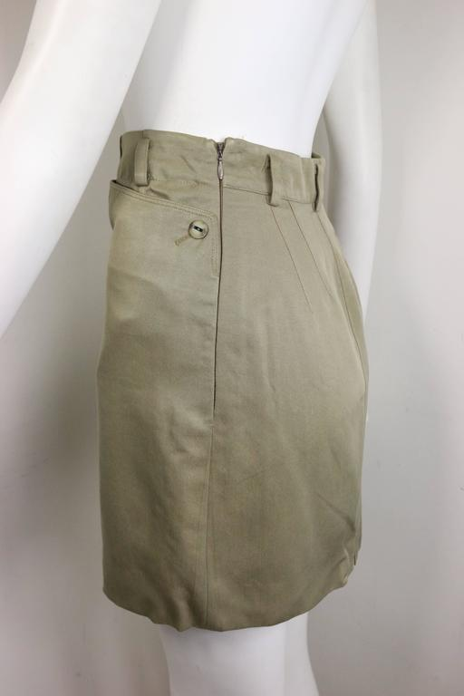 Alaia Khaki Double Breasted Jacket and Skirt Ensemble For Sale 1