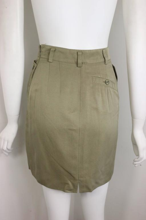 Alaia Khaki Double Breasted Jacket and Skirt Ensemble For Sale 2