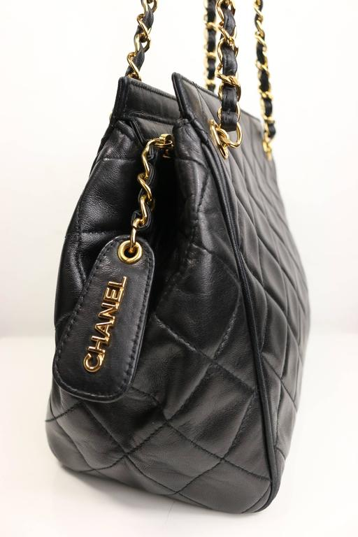 Chanel Black Quilted Lambskin Leather Petite Timeless Shoulder Strap Tote In Excellent Condition For Sale In Sheung Wan, HK