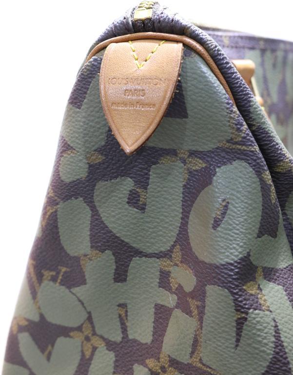 426308fc283e Gray Louis Vuitton Khaki Graffiti Monogram Canvas 30cm Speedy by Stephen  Sprouse For Sale