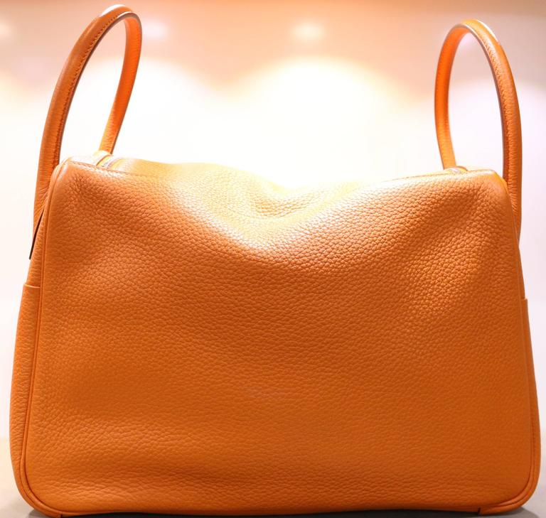 c13df5c799b ... amazon this super elegant and chic hermes lindy in orange colour is  crafted of taurillon clemence