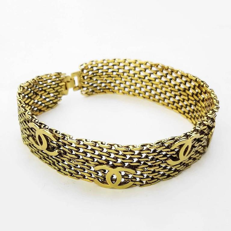 "Chanel Gold Toned Hardware ""CC"" Logo Chain Bracelet  2"