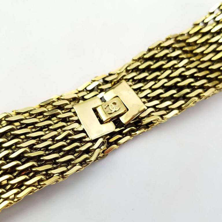 "Chanel Gold Toned Hardware ""CC"" Logo Chain Bracelet  4"